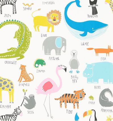 "scion - carta da parati animali ""animal magic"" (tutti frutti/chalk)"