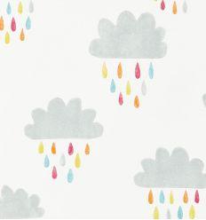 """scion - carta da parati nuvole e pioggia """"april showers"""" (citrus/lagoon/poppy"""