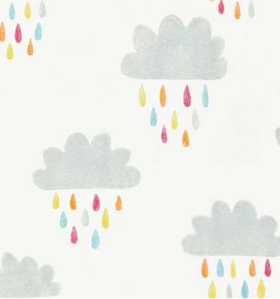 "scion - wallpaper clouds and raindrops ""april showers"" (citrus/lagoon/poppy)"