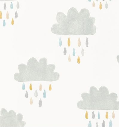 "scion - wallpaper clouds and raindrops ""april showers"" (slate/pickle/paper)"