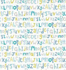 "scion - carta da parati alfabeto ""letters play"" (citrus/lagoon/sky)"