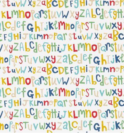 """scion - carta da parati alfabeto """"letters play"""" (pistachio/pimento/denim)"""