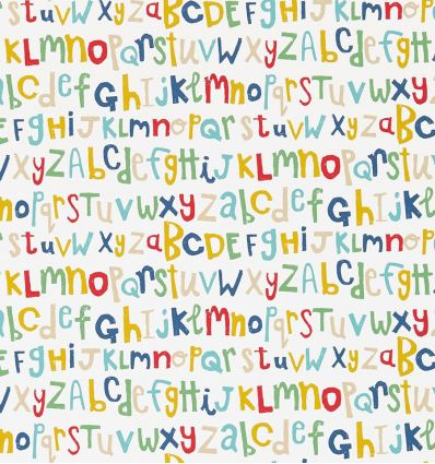 "scion - wallpaper alphabet ""letters play"" (pistachio/pimento/denim)"