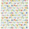 scion - carta da parati letters play (blu/oliva/rosso/giallo)