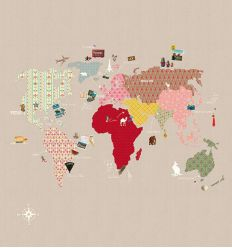 "mr perswall - carta da parati pannello ""whole wide world"" (beige)"