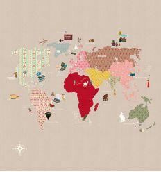 """mr perswall - carta da parati pannello """"whole wide world"""" (beige)"""