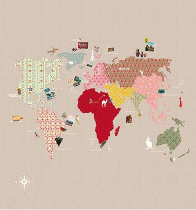 mr perswall - murale in carta da parati whole wide world (beige)