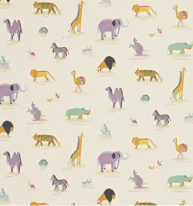 sanderson - fabric animals of ark two by two (vintage multi)