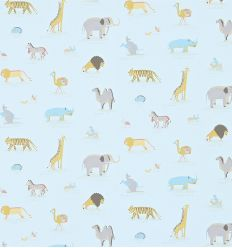 "sanderson - carta da parati animali dell'arca ""two by two"" (powder blue)"