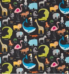 "scion - fabric ""animal magic"" (tutti frutti/blackboard)"