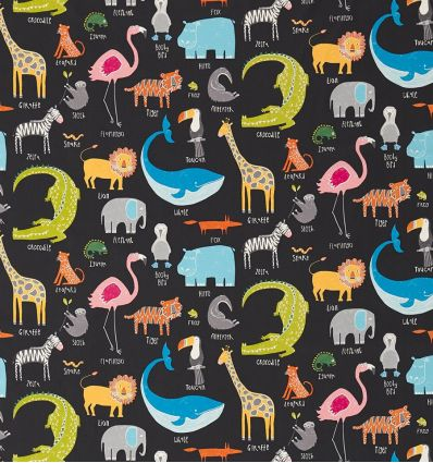 scion - tessuto d'arredo con animali animal magic (tutti frutti/blackboard)