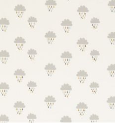 scion - embroidered fabric clouds and raindrops april showers (bourbon/rubble/honey)