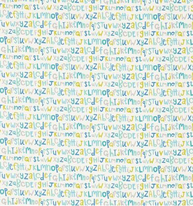 scion - fabric alphabet letters play (citrus/denim/lagoon)