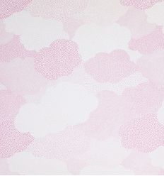 casadeco - curtains fabric polka dots clouds nuages (rose)