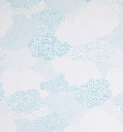 casadeco - tessuto d'arredo per tende nuvole a pois nuages (azzurro)