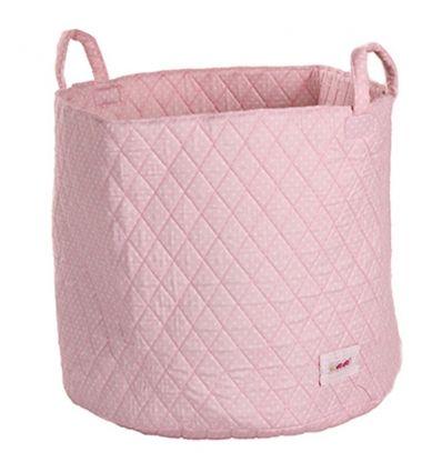 minene - cesta portagiochi - pois rosa/bianco
