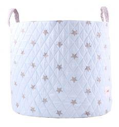minene - cesta portagiochi - stelle celeste/bianco