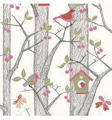 borastapeter - carta da parati foresta - rosa