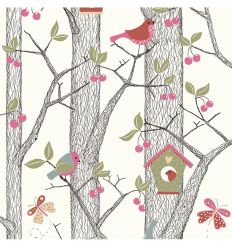 borastapeter - wallpaper forest cherry friends (pink)