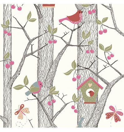 borastapeter - wallpaper forest cherry friends (pink)