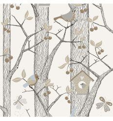 borastapeter - carta da parati foresta - azzurro