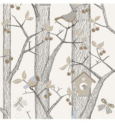 borastapeter - wallpaper forest - blue