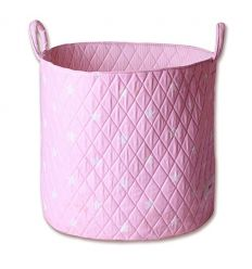 minene - cesta portagiochi - stelle rosa/bianco