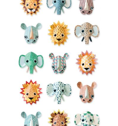 "studio ditte - pannello carta da parati ""wild animals cool"""