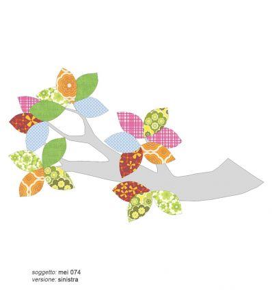 inke - carta da parati sagomata ramo con foglie