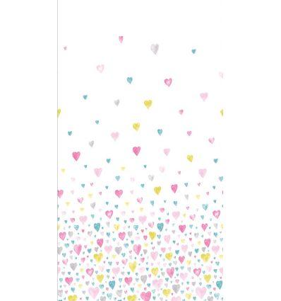 casadeco - tessuto d'arredo cuori (rosa/azzurro)