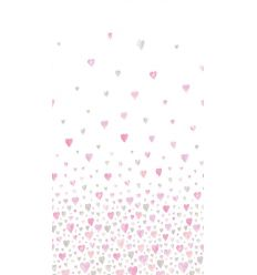 casadeco - tessuto d'arredo cuori (rosa/grigio)