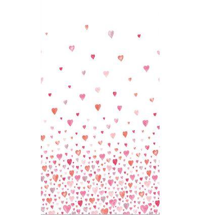 casadeco - tessuto d'arredo cuori (rosso/rosa)
