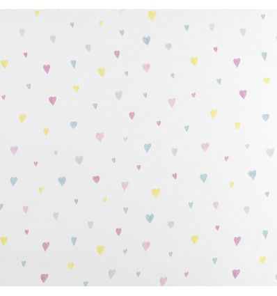 casadeco - curtains fabric hearts coeur (rose/light blue)