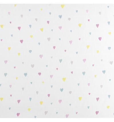 casadeco - tessuto d'arredo per tende cuori coeur (rosa/azzurro)