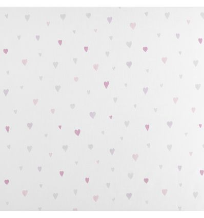 casadeco - curtains fabric hearts coeur (rose/grey)