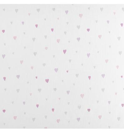 casadeco - tessuto per tende cuori (rosa/grigio)