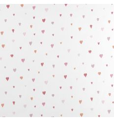 casadeco - tessuto d'arredo per tende cuori coeur (rosso/rosa)