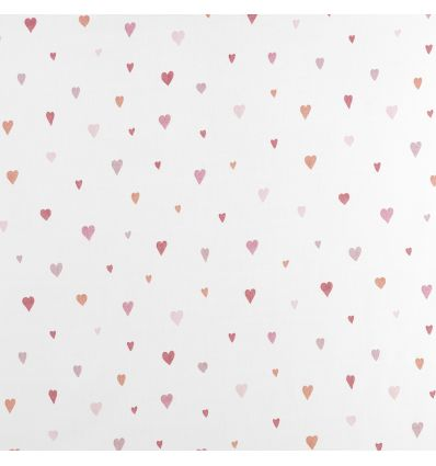 casadeco - tessuto per tende cuori (rosso/rosa)
