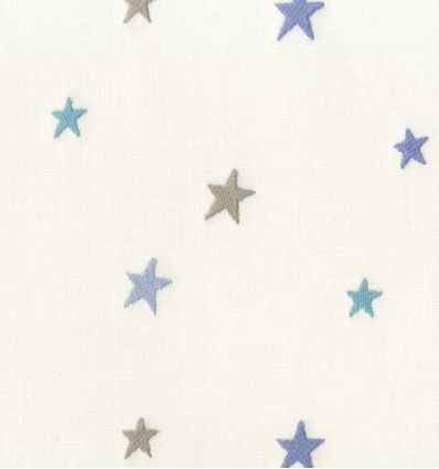 casadeco - embroidered fabric small stars (blue/lightblue/grey)