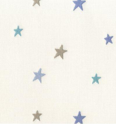 casadeco - tessuto d'arredo ricamato stelle piccole etoile brodee (blu/azzurro)