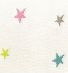 casadeco - embroidered fabric small stars (pink/lightblue/grey)