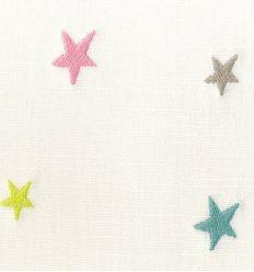 casadeco - tessuto d'arredo ricamato stelle piccole (rosa/azzurro/grigio)