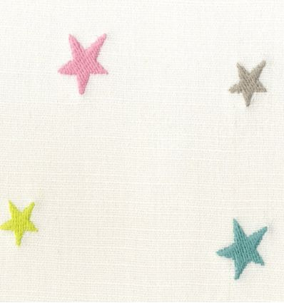 casadeco - embroidered fabric little stars etoile brodee (rose/light blue)