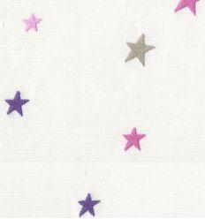 casadeco - tessuto d'arredo ricamato stelle piccole (viola/rosa/grigio)