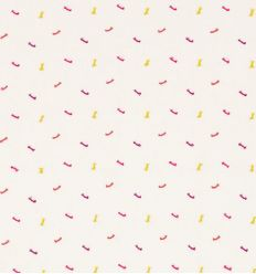 "scion - curtains fabric embroidered bows ""toodle pip"" (raspberry/sunshine/rhubarb)"