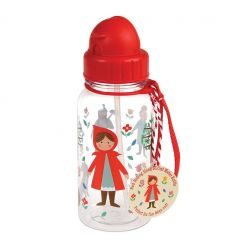 water bottle with straw red riding hood