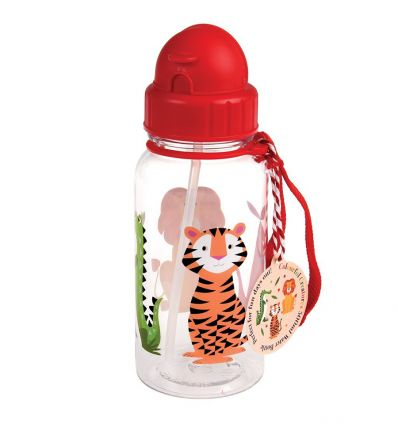 water bottle with straw animals