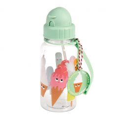 water bottle with straw ice cream friends