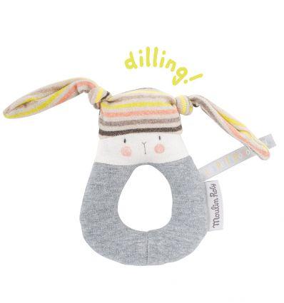 moulin roty - sonaglio ad anello coniglietto - les petits dodos