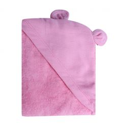 minene - hooded newborn towel (pink bear)